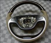 2015 2016 2017 Mercedes Benz S ClassW222 Wood Seidenbeige 8R85 Leather Steering Wheel OEM OE