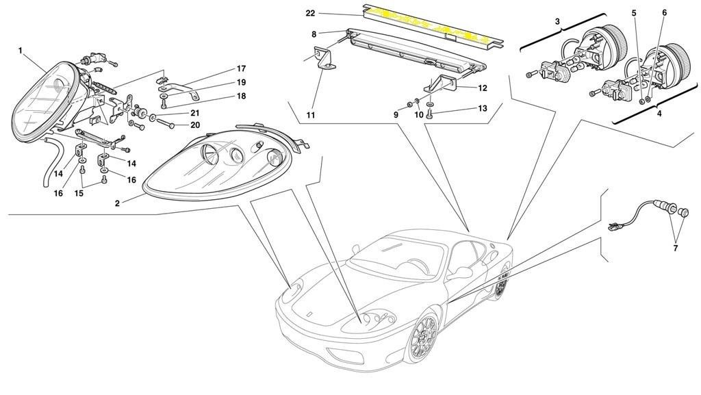 Ferrari 360 F430 Third brake insulation Isolante per stop light,#22 on diagram - Used Auto Parts Store | LA Global Parts