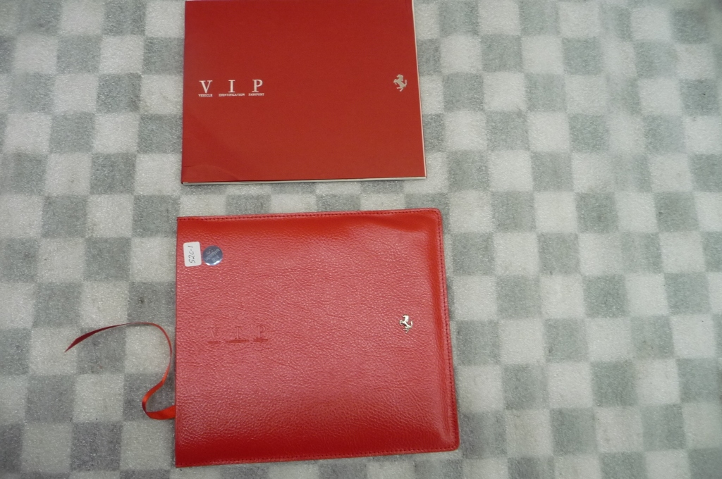 2008 Ferrari F430 Spider Spyder VIP (Vehicle Identification Passport) Book with Leather Case Cover Red Color