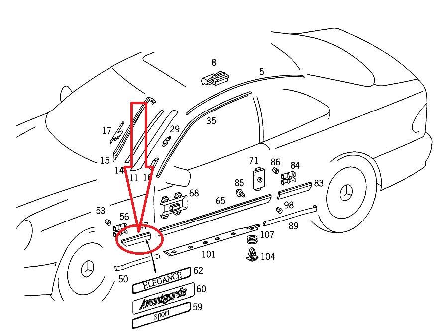 99-03 Mercedes Benz W208 CLK320 Front Left Fender Ledge