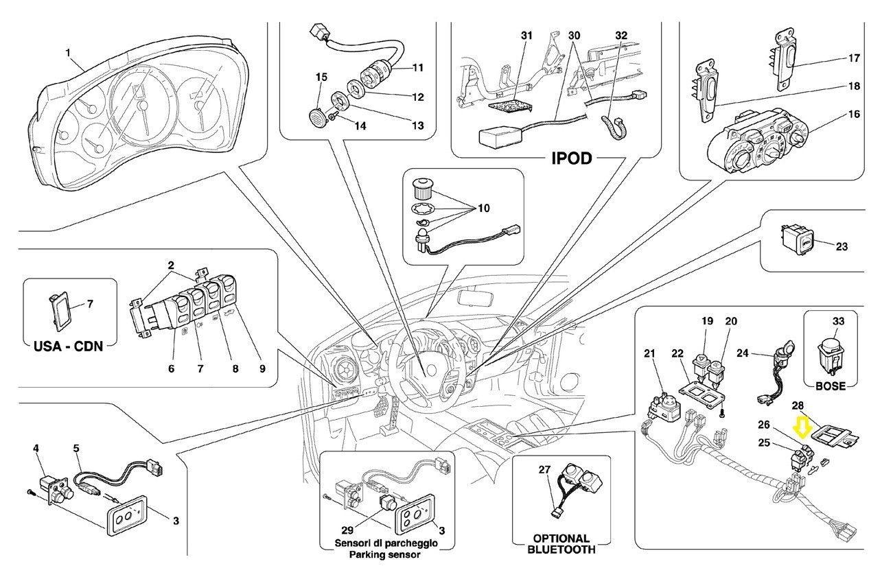 2001-2009 Ferrari 360 F430 Glove Box Opening Push Button