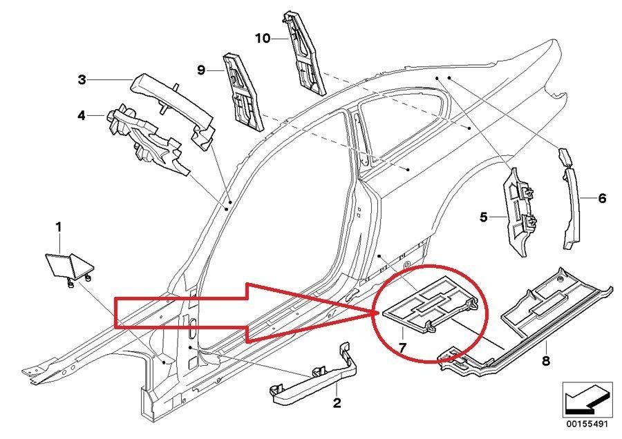 2007-2013 BMW E92 328i M3 Coupe Interior F Column B