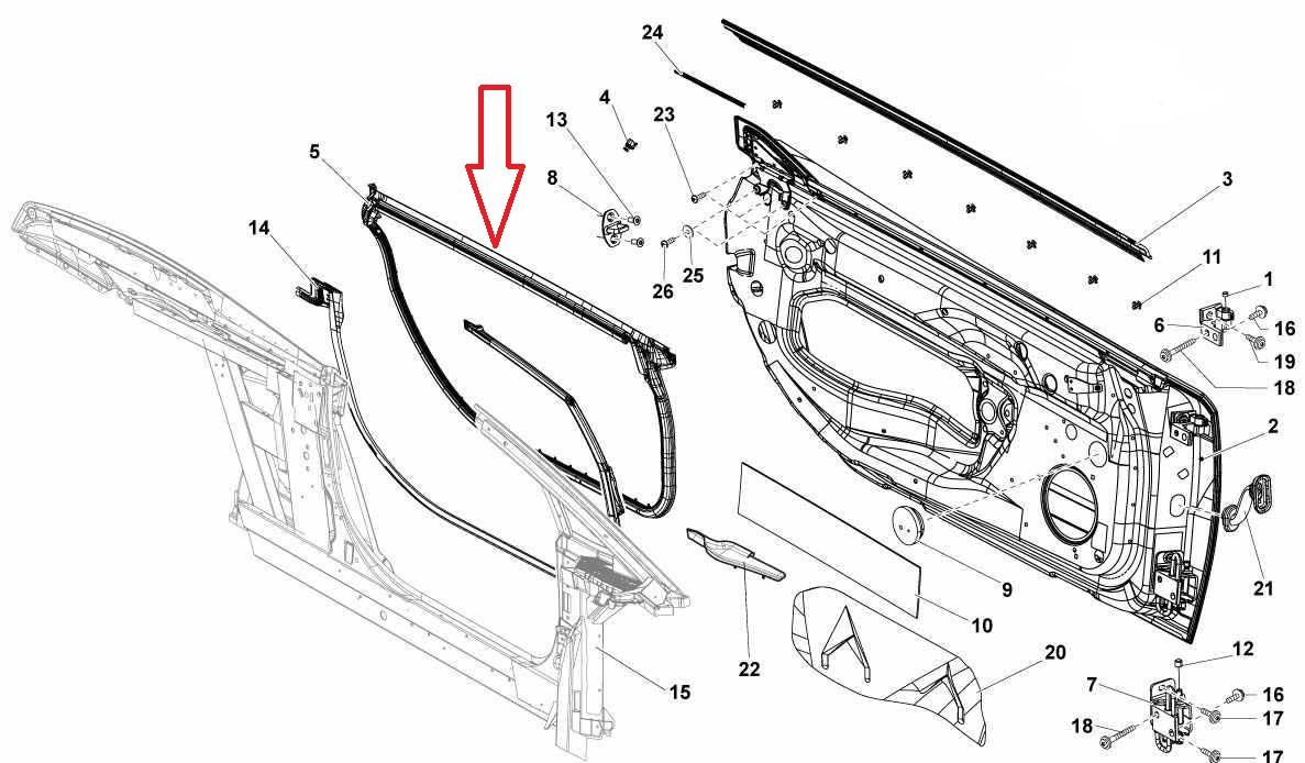 2009-2014 Lamborghini Gallardo Spyder Right Door Seal