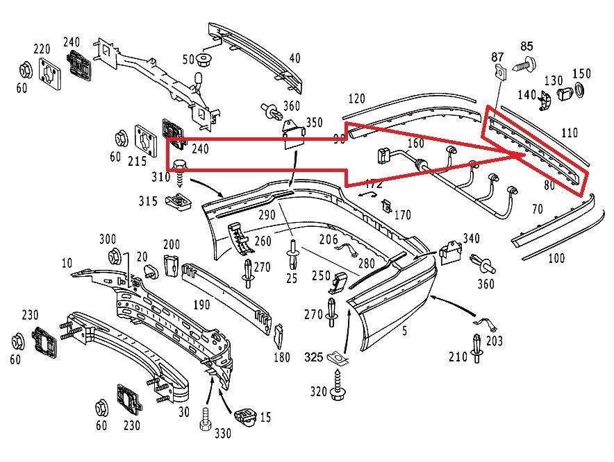 Mercedes Benz S Class Rear Bumper Central Rail Moulding