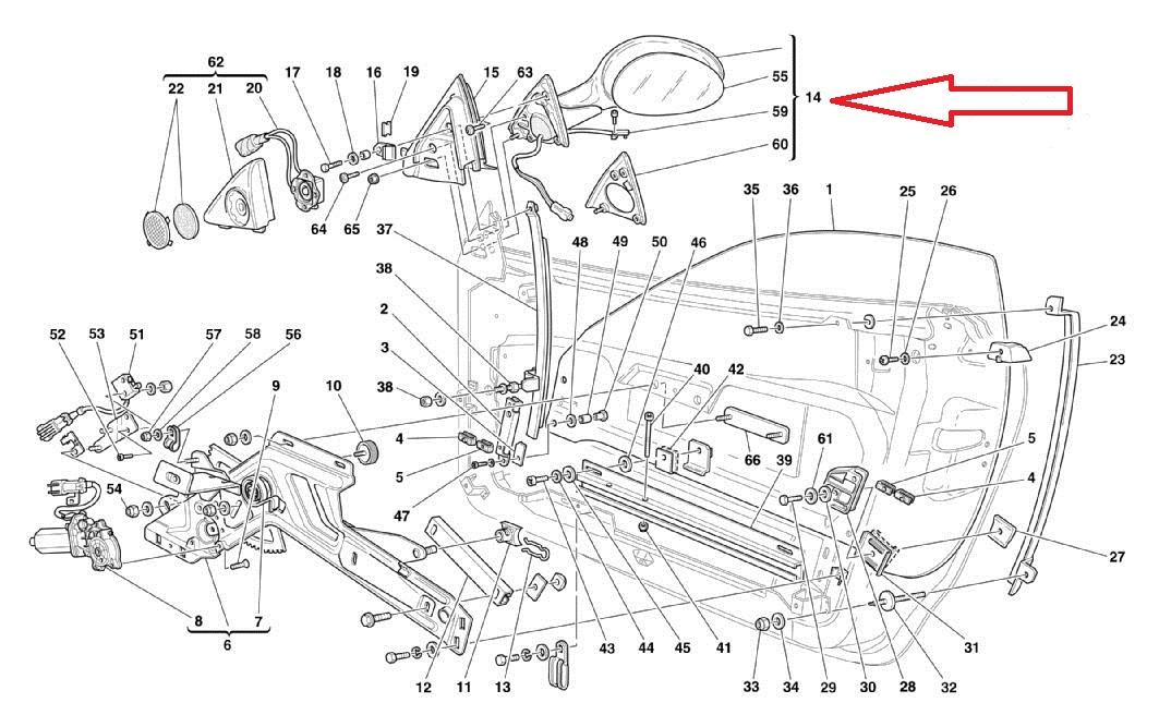 00-08 Ferrari 360 Left Driver Side Outer External RearView